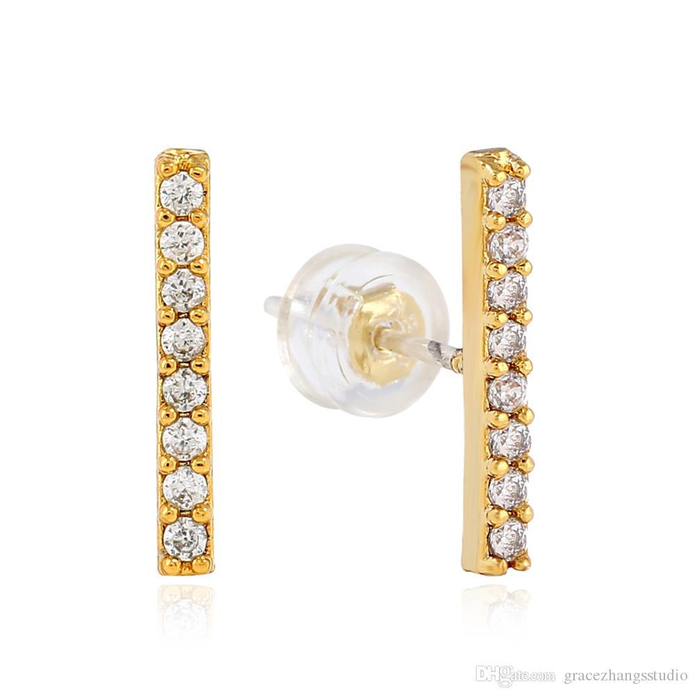 Natural Diamond Vertical Bar Stud Earrings 925 Sterling Silver