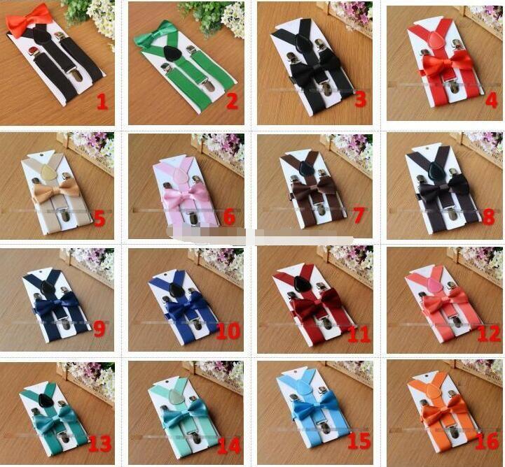 26 colors Kids Suspenders Bow Tie Set for 1-10T Baby Braces Elastic Y-back