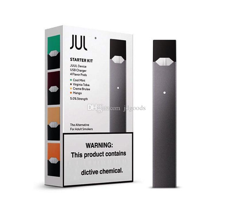 Newest Juul starter Kit 250mah battery With 4 pcs Pods USB Charger Portable Vape Pen juul device Kit high quality DHL