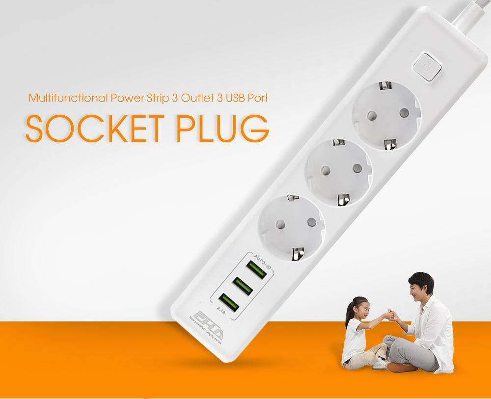Multifunctional Power Strip 3 Outlet 3 USB Port Socket Plug 1.8 meters Cable Length Extension Electrical Socket 250V 10A eu plug