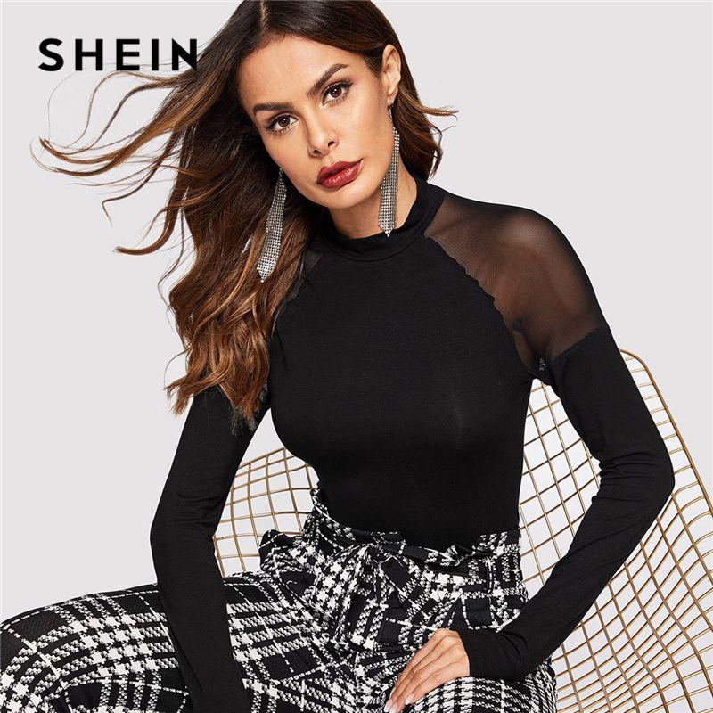 340df04da3 2019 Shein Highstreet Black Mesh Insert Shoulder Mock Neck High Neck Plain  Tee 2019 Spring Casual Women Modern Lady Tshirt Top C19041901 From Shen07,  ...