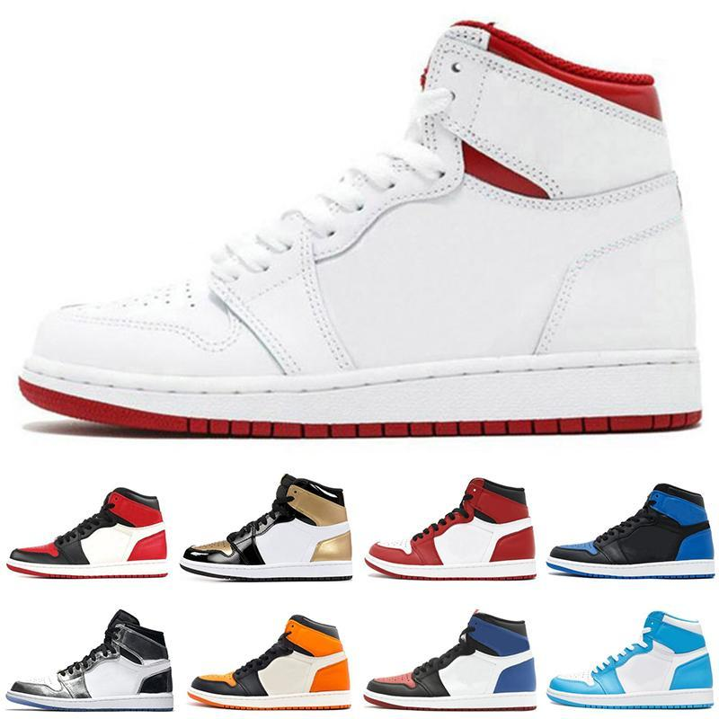 reputable site 10aae 7345d classic 1s Basketball Shoes bred toe royal top 3 gold shattered backboard  shadow Chicago game royal men women sneakers