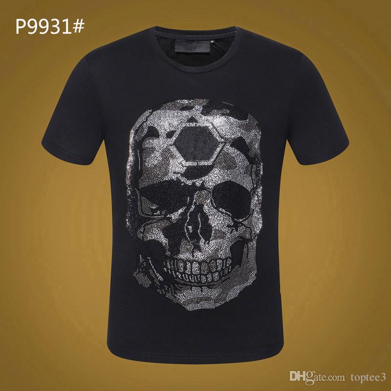4ded44918060 Summer Mens Luxury Brand Tshirt PP Skull Print Rivet Beads Tops Fashion  Designer Tshirt High O Neck Quality Skull Tees  6137 Best T Shirts Shirts  Online ...