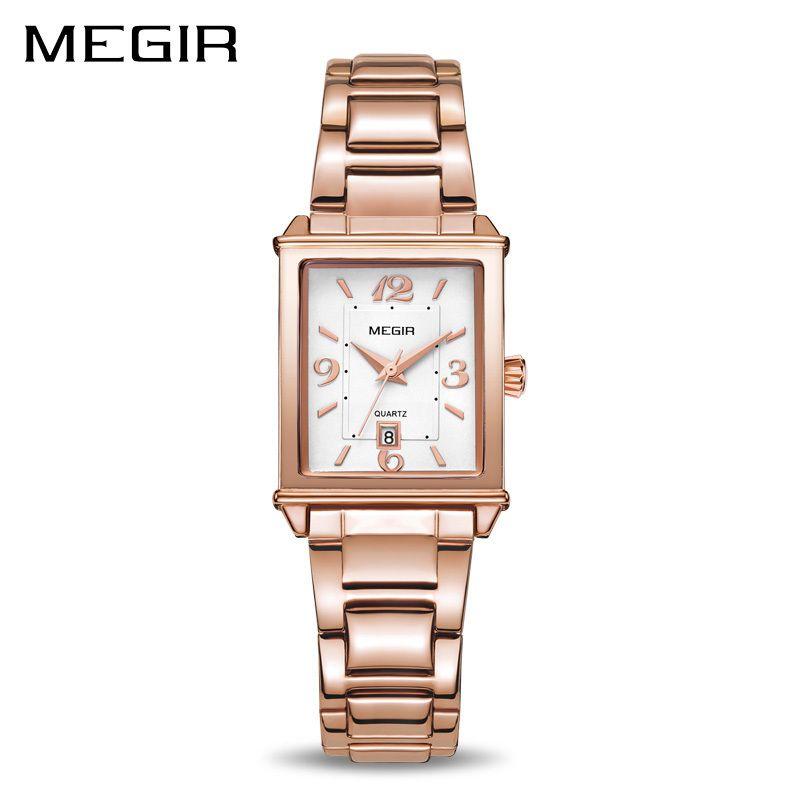 da6880bb488 Compre Megir Senhoras Relógios Rosa De Ouro De Luxo Mulheres Pulseira De  Relógio Para Os Amantes Da Moda Menina De Quartzo Relógio De Pulso Relógio  Relogio ...