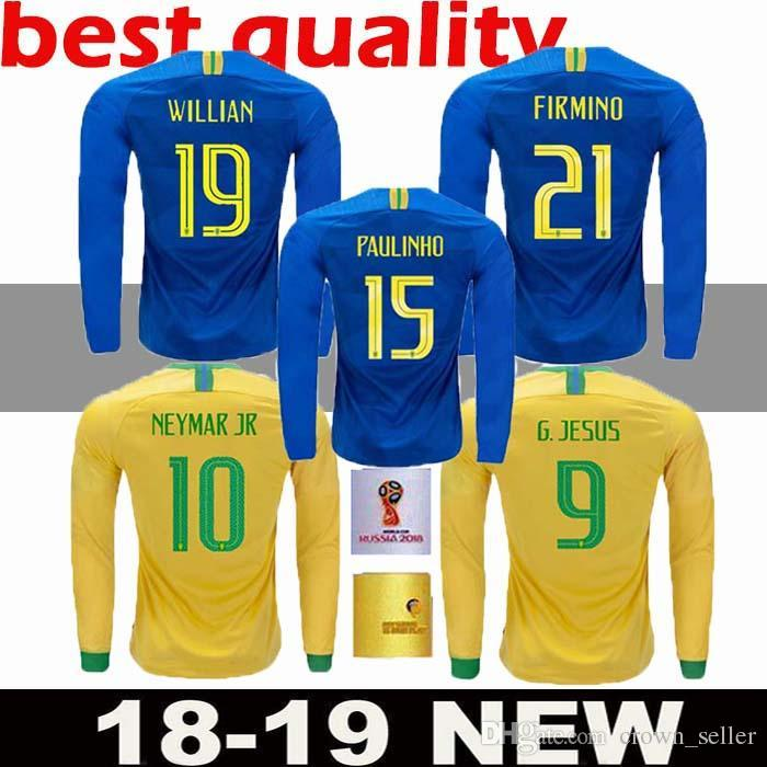 8202f6dac 2019 2018 19 Thai Quality Brazil Home Away Long Sleeve Futbol Camisa Soccer  Jerseys LS Football Camiseta Brasil MEN Adult Shirt Maillot From  Crown seller