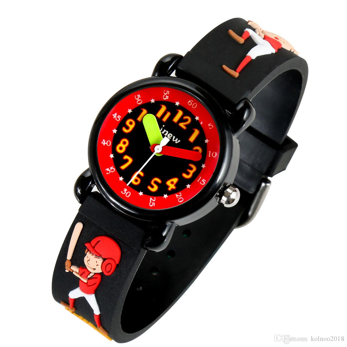 2019 Children's New Design Watches Base-ball Boy Style Round-case Kids Watch Acrylic Glass Fashion Students Wrist Watches Black No:86131