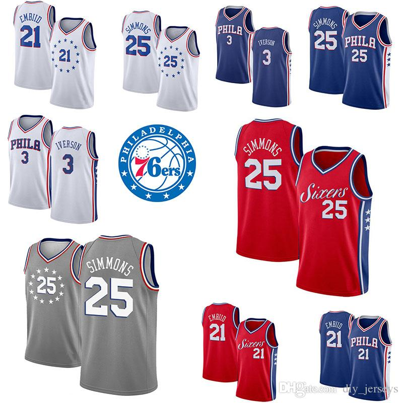 premium selection 075da 90268 Philadelphia Hot Sale 25 Simmons 21 Embiid 3 Iverson 23 Butler White Blue  Red Cool Breathable Jersey Mens