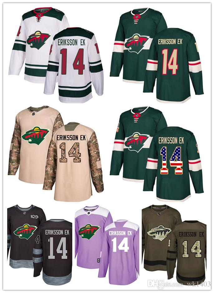 2019 Minnesota Wild Jerseys  14 Joel Eriksson Ek Jersey Hockey Men Women  Youth Authentic Green Home White Away Stiched Fanatics USA FLAG Jerseys  From Wk1403 ... 0c03fea09ef