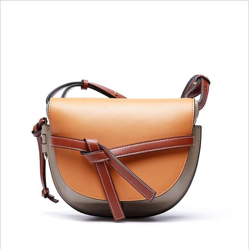 b26120acbcf1 Luxury 100% Real Leather Women Designer Handbags Brand Cowhide Genuine  Leather Women Shoulder Hit Color Female Messenger Bag 145 Hobo Bags  Designer Bags ...
