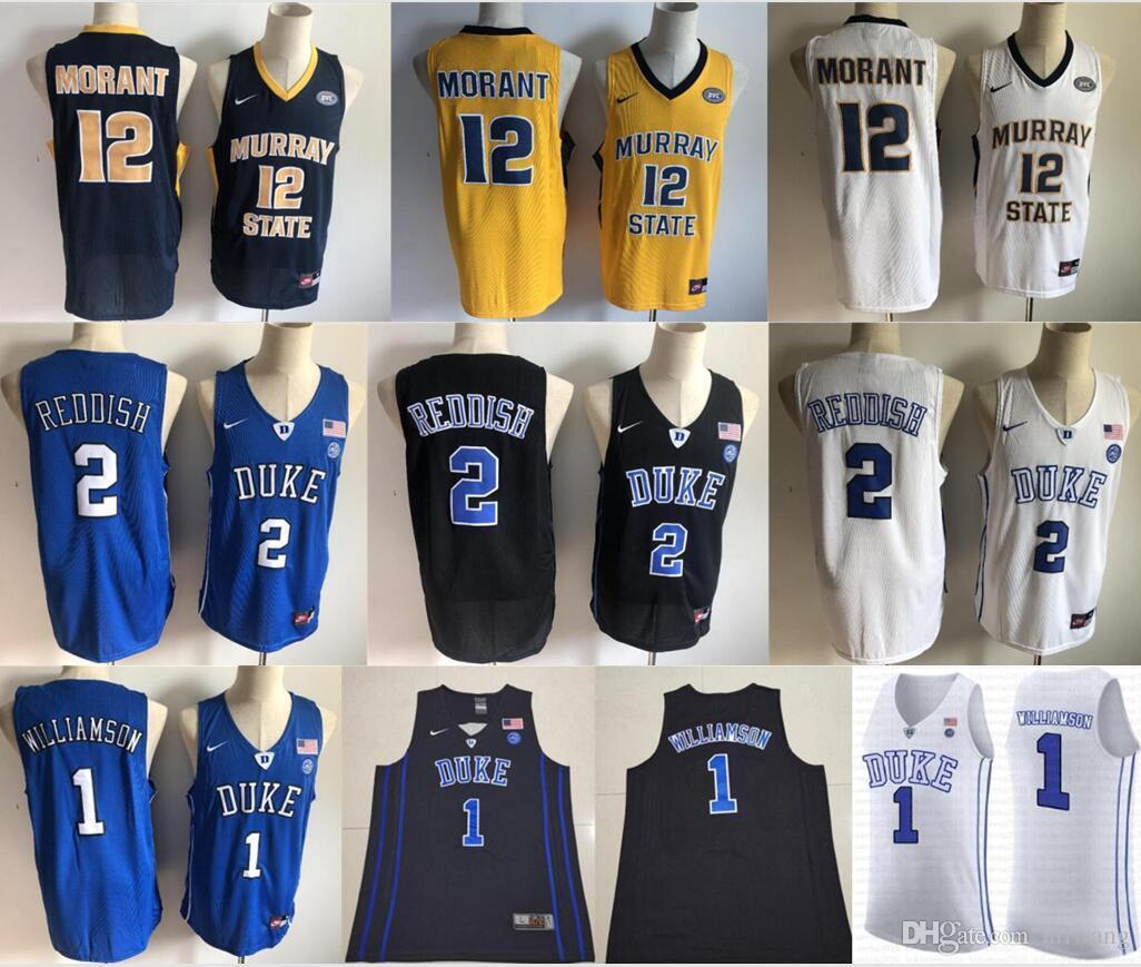 cheaper e7575 cd2ef Nike NCAA 1 Zion Williamson Duke Blue Devils College Jersey 12 Ja Morant  Murray State 5 RJ Barrett 2 Cameron Reddish 4 Redick Christian