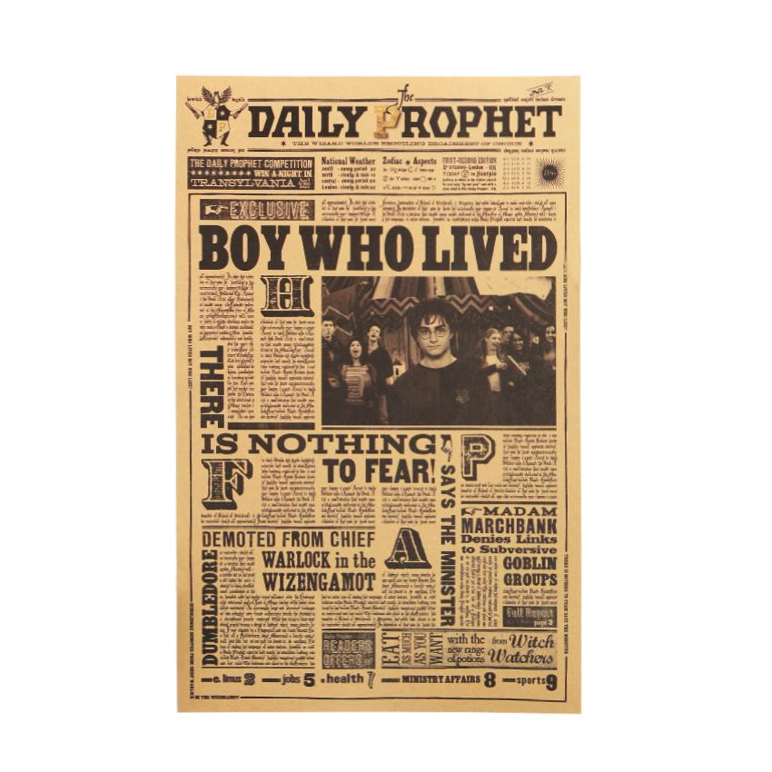 Daily Prophet Retro Poster Harry Potter classique film Wall Sticker Home Decor Chambre Enfants Fond d'écran gros