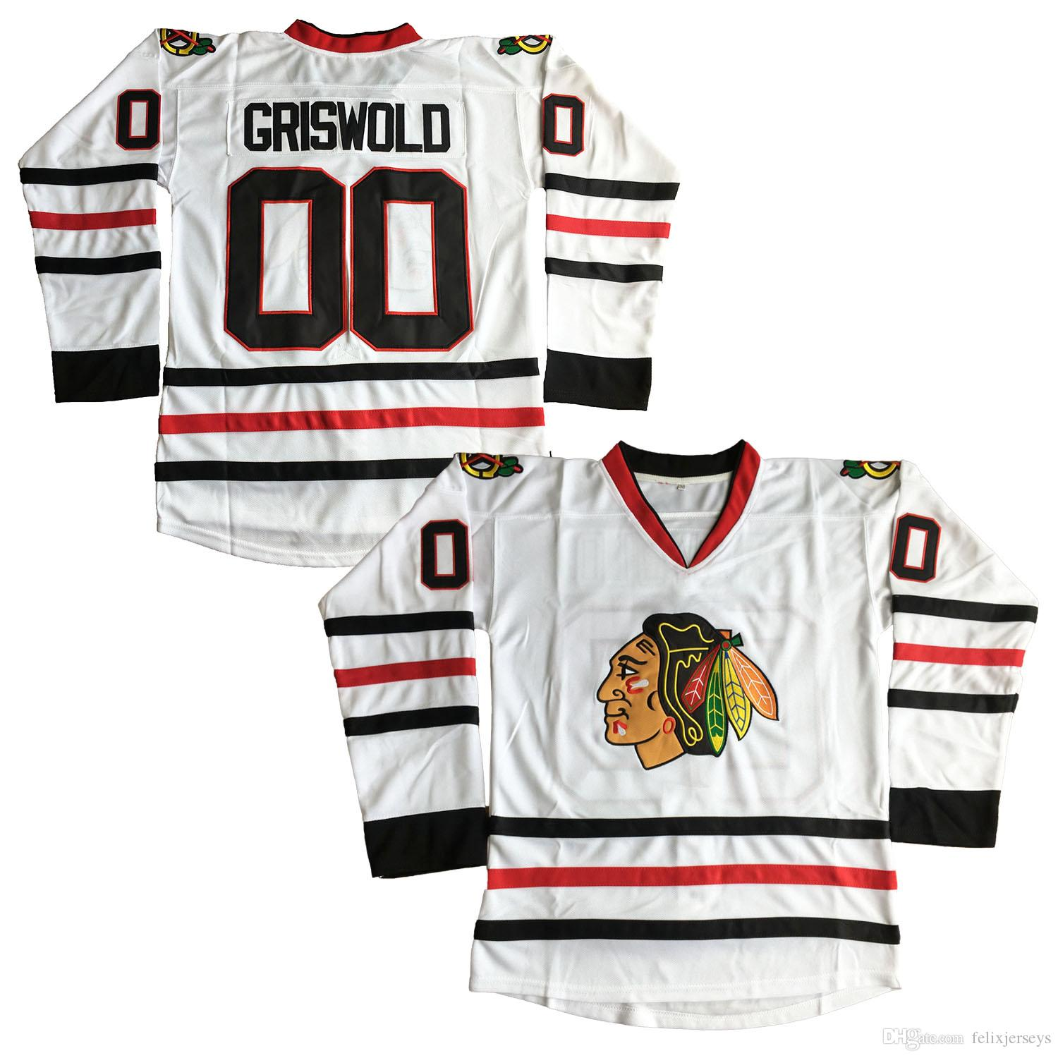 timeless design 93f52 3fbf5 Clark Griswold #00 X-Mas Christmas Vacation Movie Hockey Jersey White Movie  Jerseys Stitched Fast Free shipping
