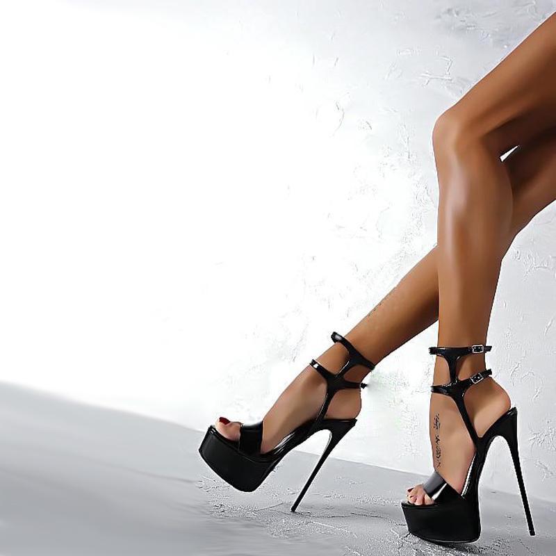 21d97085f Compre Tamanho 34 40 Couro Pu Sandálias De Salto Alto 16 Cm Stripper Shoes  Sapatos De Festa De Casamento Do Verão Das Mulheres Gladiador Sandálias De  ...