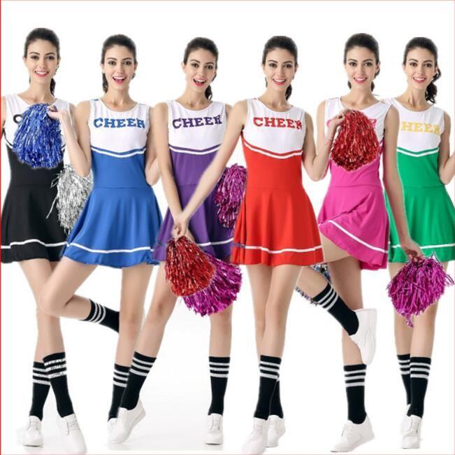 0952ded426 New 6-Color High School Girl Cheerleader Costume Sleeveless Cheer Uniform  Cheerleading Fancy Dress aerobics dance costume Sportwear