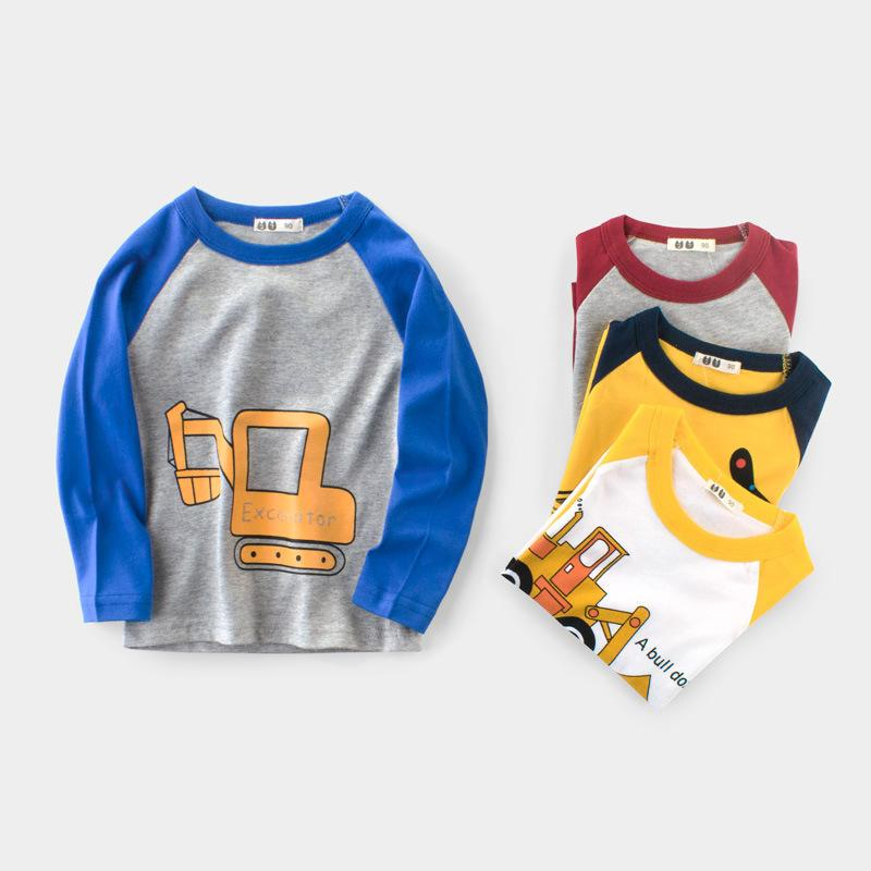 2019 New Spring Boys Cartoon Cotton T Shirts Children Tees Boy Long Sleeve T Shirts Kids Tops Brand Baby Clothes 2-10Y