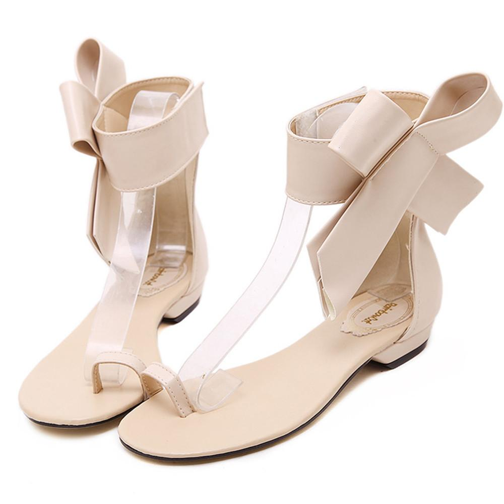 8df99e738d929c Fashion 2019 Casual Shoes Woman Summer Comfortable Cute Bowknot Gladiator  Sandals Women Low Heel Shoes Party Sexy Flat Sandal ss High Heels Heels  From ...