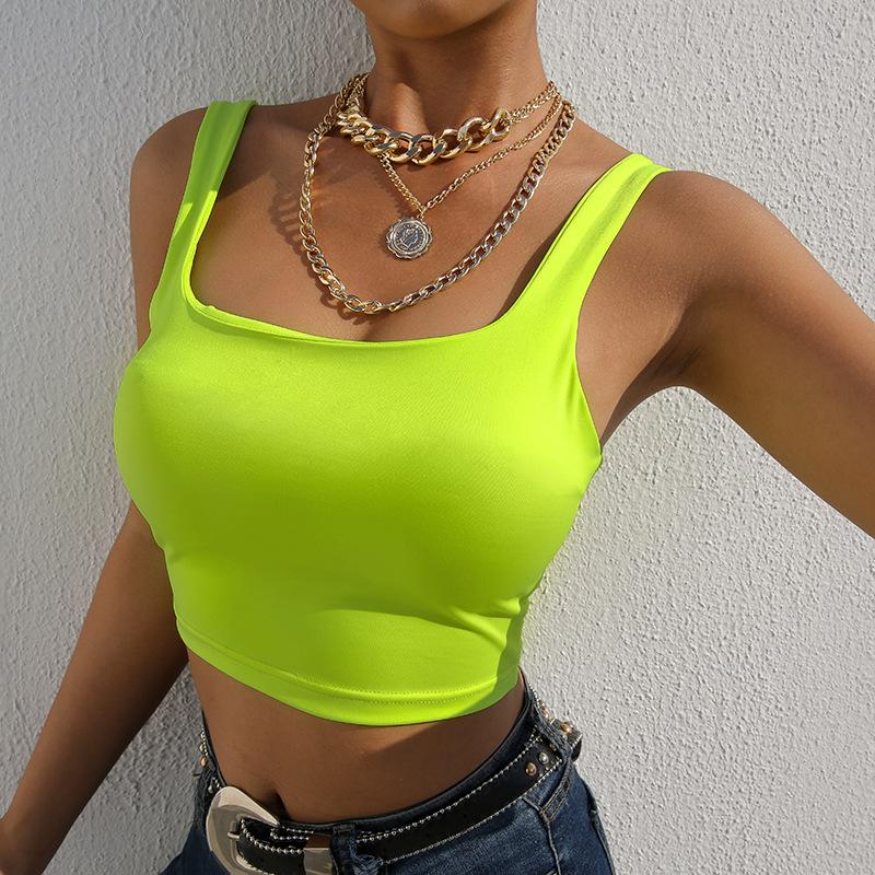 3d3b855553be8b 2019 ZHYMIHRET Summer 2019 Bright Neon Green Tank Tops Women Fashion Crop  Tops Square Collar Top Femme Sexy Fluorescence Bustier Top From Vangoha