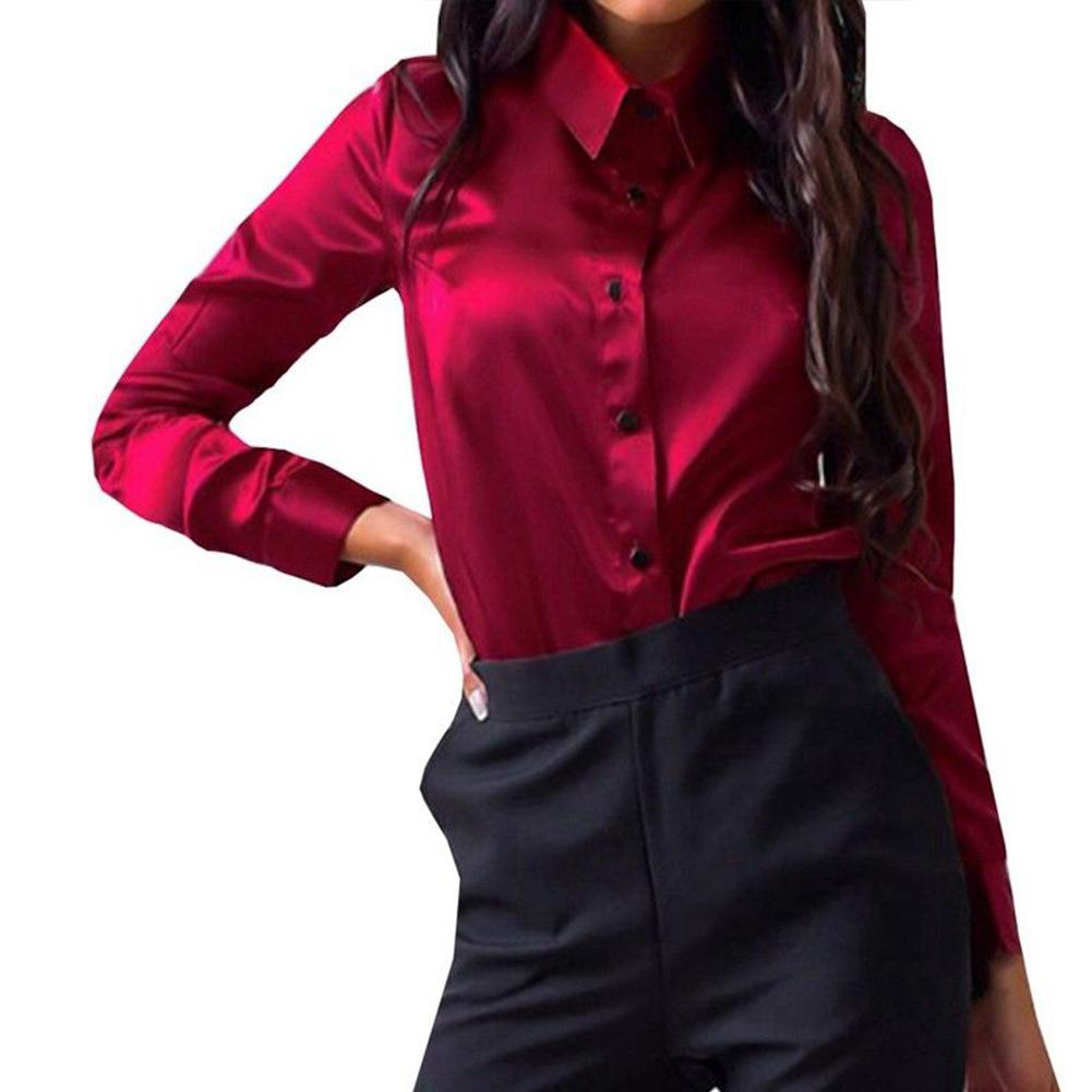 ed4eaebf 2019 Women Shirt Button Down Autumn Turn Down Collar Ladies Satin Tops Long  Sleeve Office Wear Blouse Fabala Elegant From Roberr, $21.71 | DHgate.Com