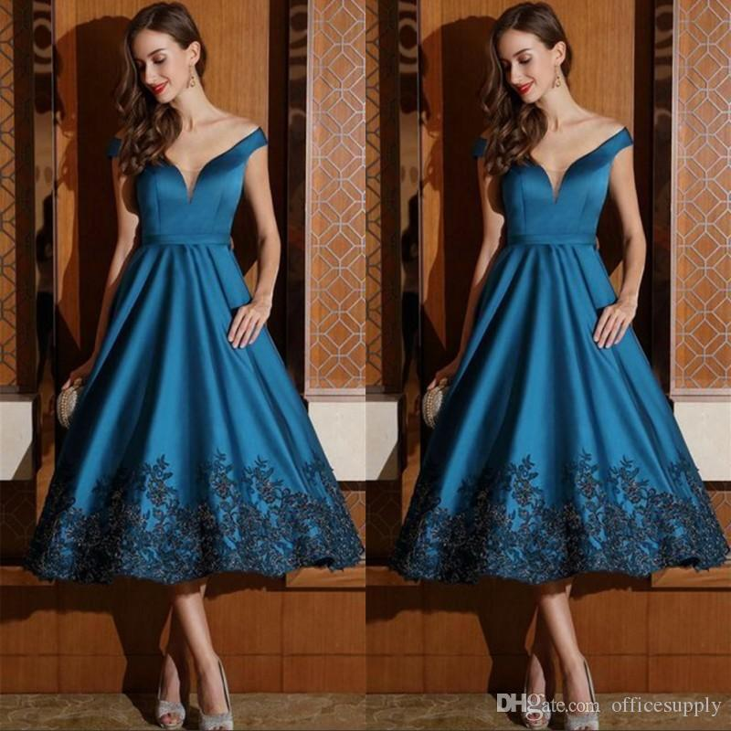 Tea Length Mother of Bride Dresses Formal Evening Gowns A Line Off Shoulder V Neck with Black Appliques Cockail Party Dress
