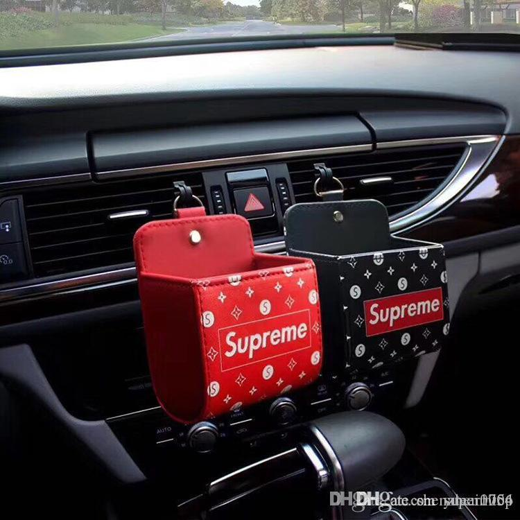 Auto Vent Outlet Trash Box PU Leather Car Mobile Phone Holder Storage Bag  Organizer Automobile Hanging Box Car Styling 2 Colors