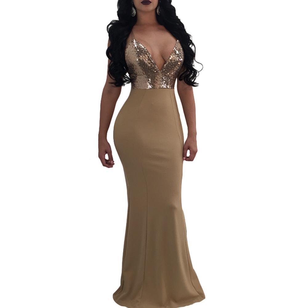3db54f3447 Compre Mujeres Sexy Vestido Maxi Con Lentejuelas Bodycon V Cuello Sin  Espalda Sin Mangas Vestido Formal Largo Vendaje Vestidos De Fiesta Clubwear  2019 Beige ...