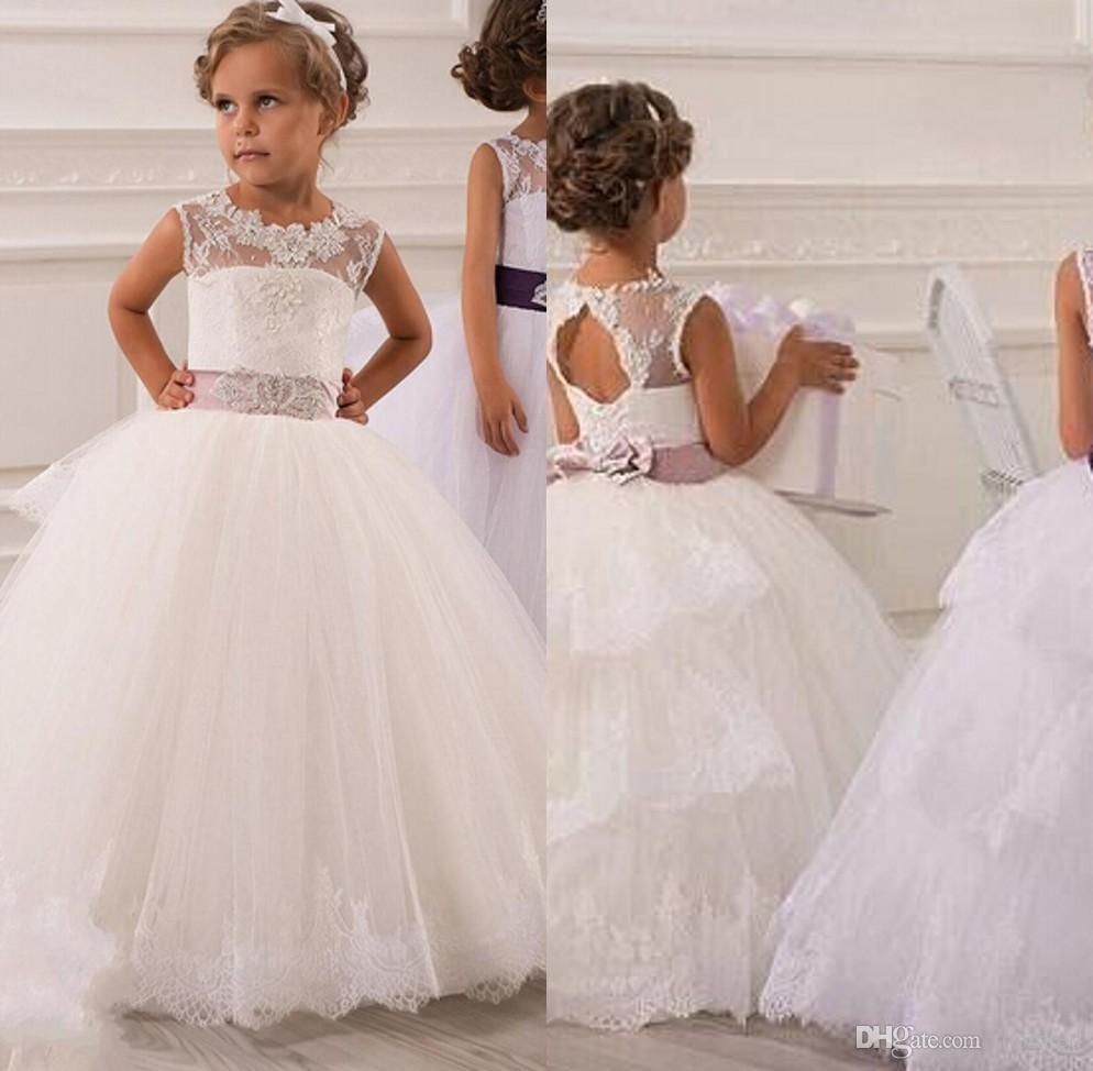 d8e17ef68f4 New Flower Girls  Dresses Little Girl Formal Gown With Sheer Neckline  A-Line Lace Jewel Bow Appliques Sequins Sash Tulle Cheap