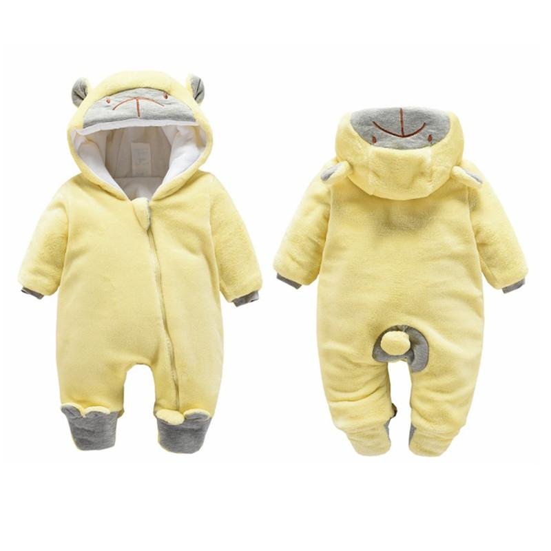 e382f0c323a1 2019 Baby Girls Warm Jumpsuits Clothes Winter Newborn Baby Velvet Thick  Long Sleeve Rompers For Baby Girls Infant Soft Hoodies Boys Sleepwear From  ...