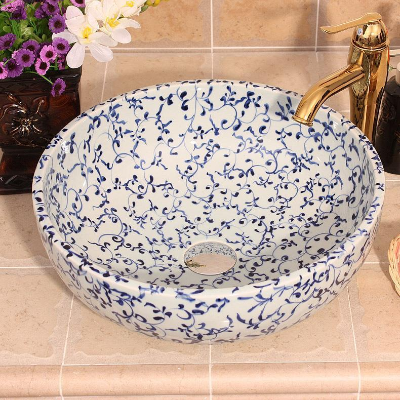 China Artistic Handmade porcelain art Lavobo Round Countertop blue wash basin