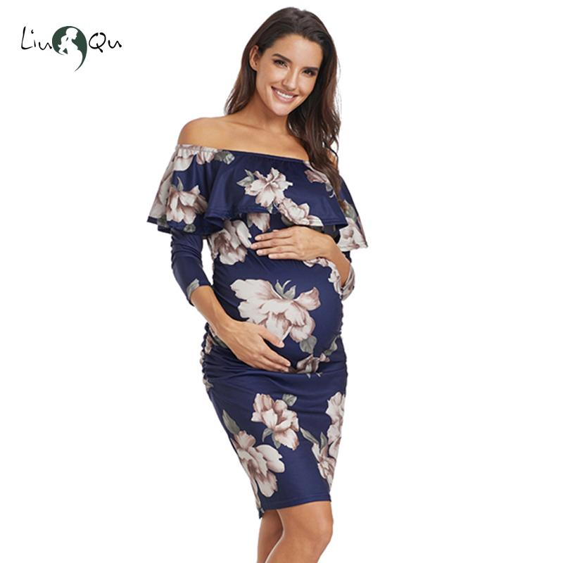 8d435c63ced0a 2019 Ruffle Off Shoulder Maternity Dresses Pregnant Women Dress Ruffles Pregnancy  Clothes Ruched Sides Knee Length Bodycon Dresses From Friendhi, ...