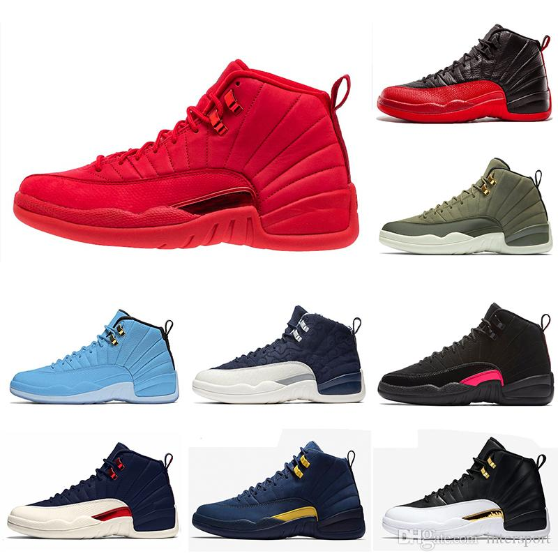 38ea7384fd57 New Arrival Gym Red 12 12s Mens Basketball Shoes Bulls Flu Game Taxi ...