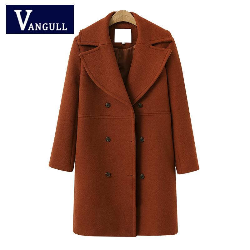 30e789be3cd New Winter Vintage Women Long Woolen Coat Autumn Female Elegant Long  Jackets Pocket Faux Wool Warm Coats VANGULL 2018 Online with  44.17 Piece  on Quhai s ...