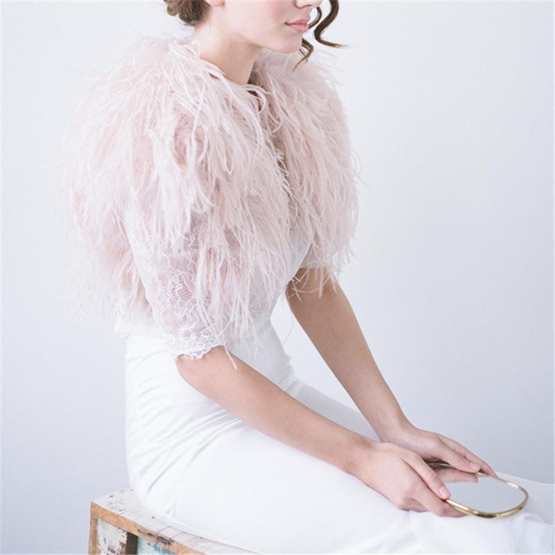 100% Blush Pink Ostrich Feather BRIDAL BOLERO Fur Jacket For Lady Women Evening Gown Wedding dress Bridesmaid Fur Wrap Shawls SH190930