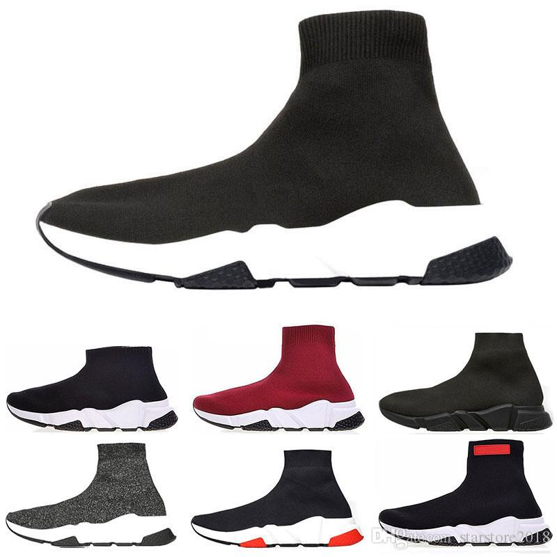 Rushed 2019 Speed Trainer Luxury Shoes red grey black white Flat Classic Socks Boots Sneakers Women Trainers Runner size 36-45
