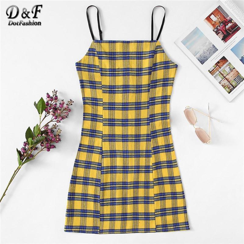 0caee1140b3b 2019 Dotfashion Plaid Sheath Summer Cami Dress Women Casual 2019 High  Quality Clothes Sleeveless Slim Spaghetti Strap Slip Mini Dress Y190417  From ...