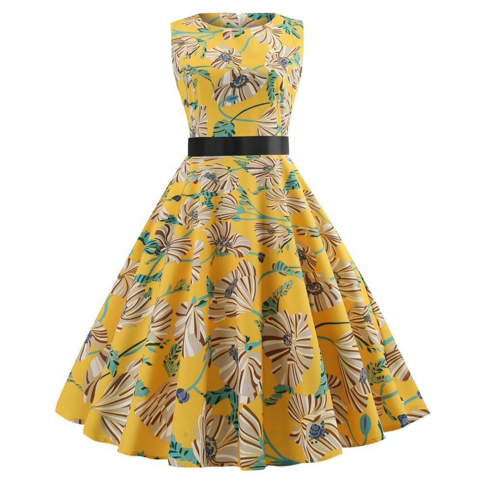 6555d5c00e6d0 Compre Vestido De Verano De Las Mujeres 2019 Ropa De Talla Grande Bata  Floral Retro Swing Casual 50 S Vintage Rockabilly Vestidos Vestidos A   28.39 Del ...