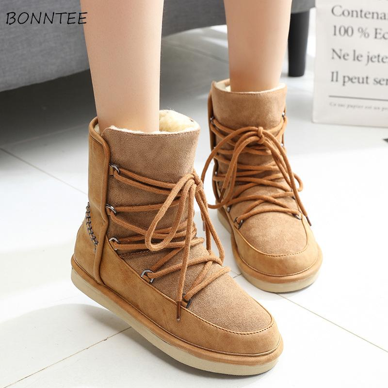 really cheap quality for sale Boots Women Winter Fashion Lace Up Snow Boot Thicker Fur Wholesale Flat  Platform Casual Warm Non-slip Shoes European Womens Chic