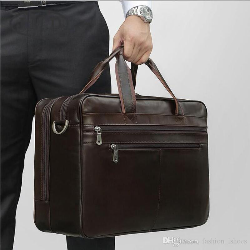 Men Hand-held Retro Casual Briefcase Bag Leather Shoulder Messenger Bags Travel High Quality Business Computer Laptop Handbag Sufficient Supply Luggage & Bags Briefcases
