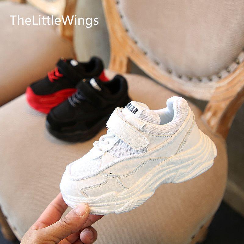 e193214e0eff0 Acheter 2018 Printemps Nouveau Chaussure Enfant Chaussures Chaussure Blanc  Plat Garçons Mocassins École Filles Plate Forme Antidérapante Baskets 1 15  Ans De ...