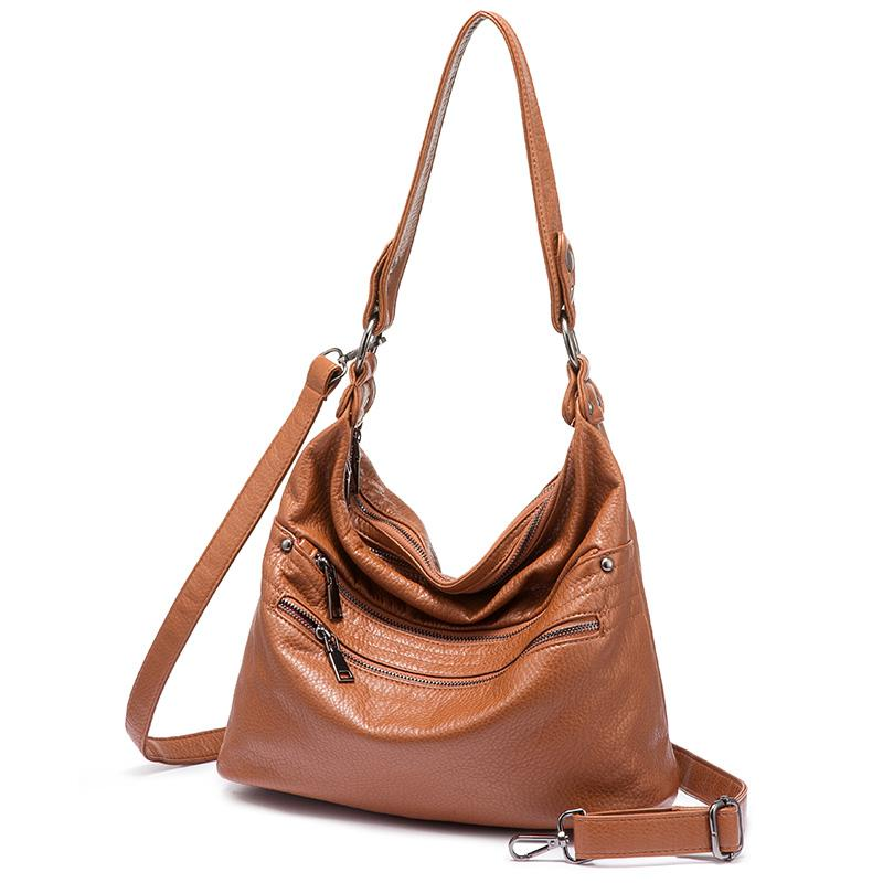 791d16d6300b REALER Shoulder Bag Women Fashion Hobo Bag Synthetic Washed Leather Handbags  Large Tote Bags Messenger Ladies Crossbody Brands Purses Wholesale Mens  Leather ...