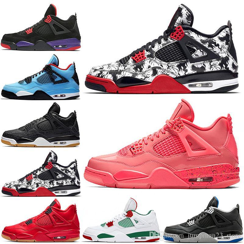 Nike Air Jordan retro 4 Tattoo 4s zapatillas de deporte de diseñador Hot Punch zapatos de baloncesto para mujeres IV para hombres chicle negro Cat