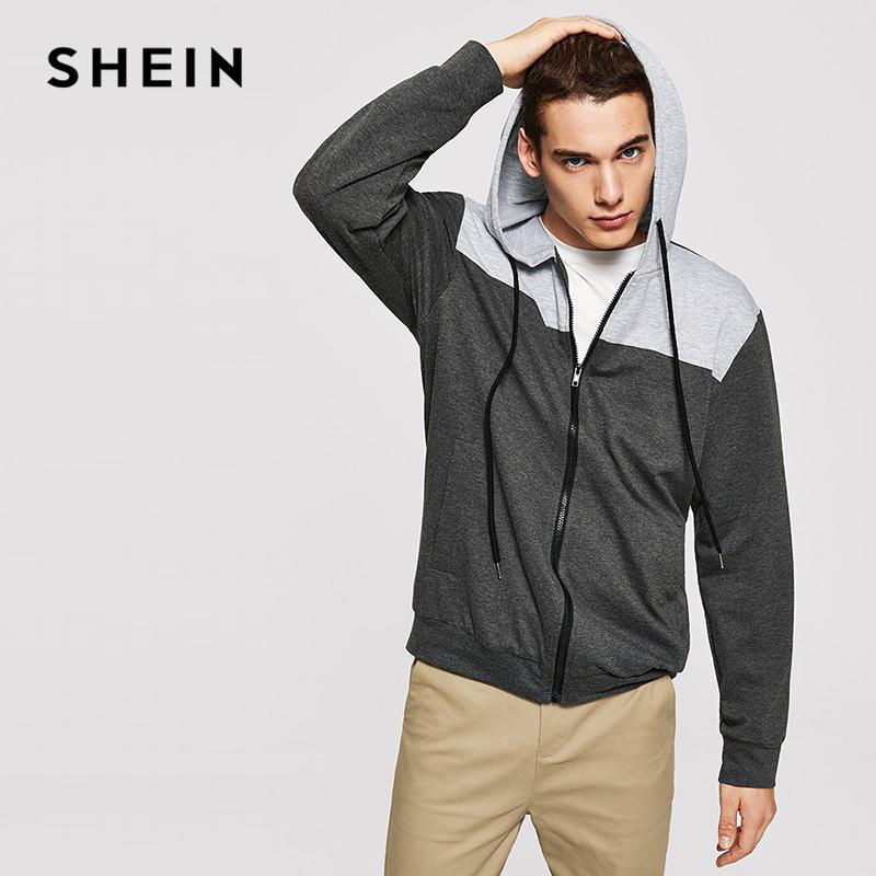 847ed854a2 2019 SHEIN Men Grey Minimalist Casual Color Block Drawstring Hoodie Zipper  Up Sweatshirt Autumn Mens Leisure Long Sleeve Sweatshirts From Hiem, ...