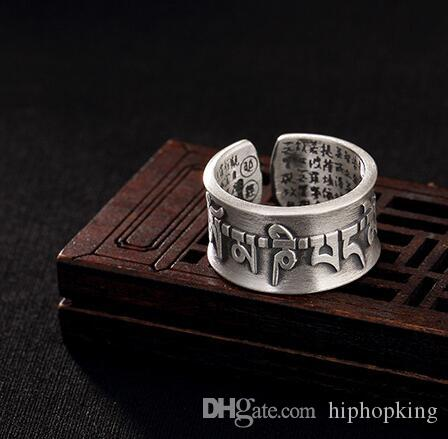 038ee88058dc2 925 silver ring New Design Open Lucky Ring Buddhism Six Words Of Mantra Big  Buddha Curse Lucky For Women/ Man Jewelry
