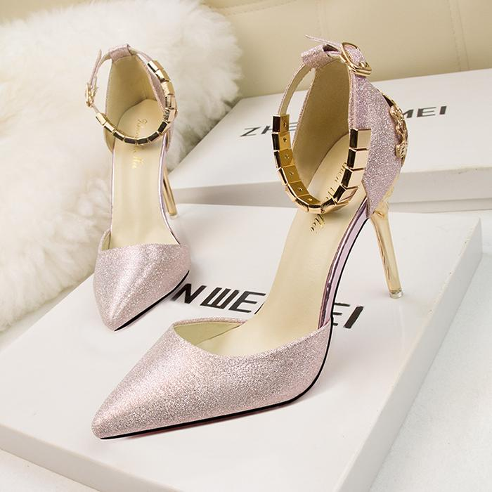 5d0d1b29310 Luxury New Designer Bridal Wedding Shoes Metal Heel Pointed Toe Shallow  Ankle Strap Dress Shoes Stiletto Heel Women Pumps Womens Sandals Orthopedic  Shoes ...