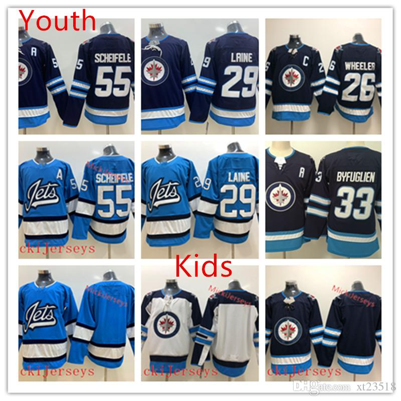 b5da5cd413d 2019 Youth Winnipeg Jets Blake Wheeler Jersey Kid 55 Mark Scheifele 33 Dustin  Byfuglien 29 Patrik Laine Winnipeg Jets Jersey From Xt23518