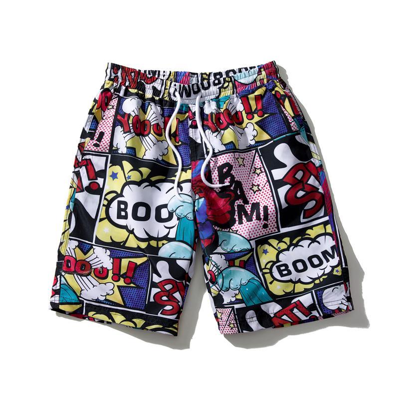 6253042120e8 Pantalones cortos de estilo japonés Hombres Ropa de playa de verano  Imprimir Pantalones cortos de secado rápido Causal Cordón Sportwear  Pantalones ...