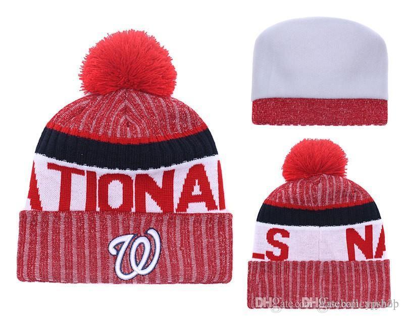 NEW Men S Washington Nationals Knitted Cuffed Pom Beanie Hats Striped  Sideline Warm Giants Baseball Beanie Cap Blue Bonnet Beanies Skul Baseball Hats  Winter ... 8bd710cb28c