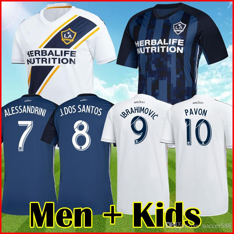 check out 82052 3f4c7 19 20 Zlatan Ibrahimovic LA Galaxy Soccer Jersey Ibrahimovic 2019  Alessandrini Lletget Galaxy jersey Corona Pavón football kit Men Kids sets