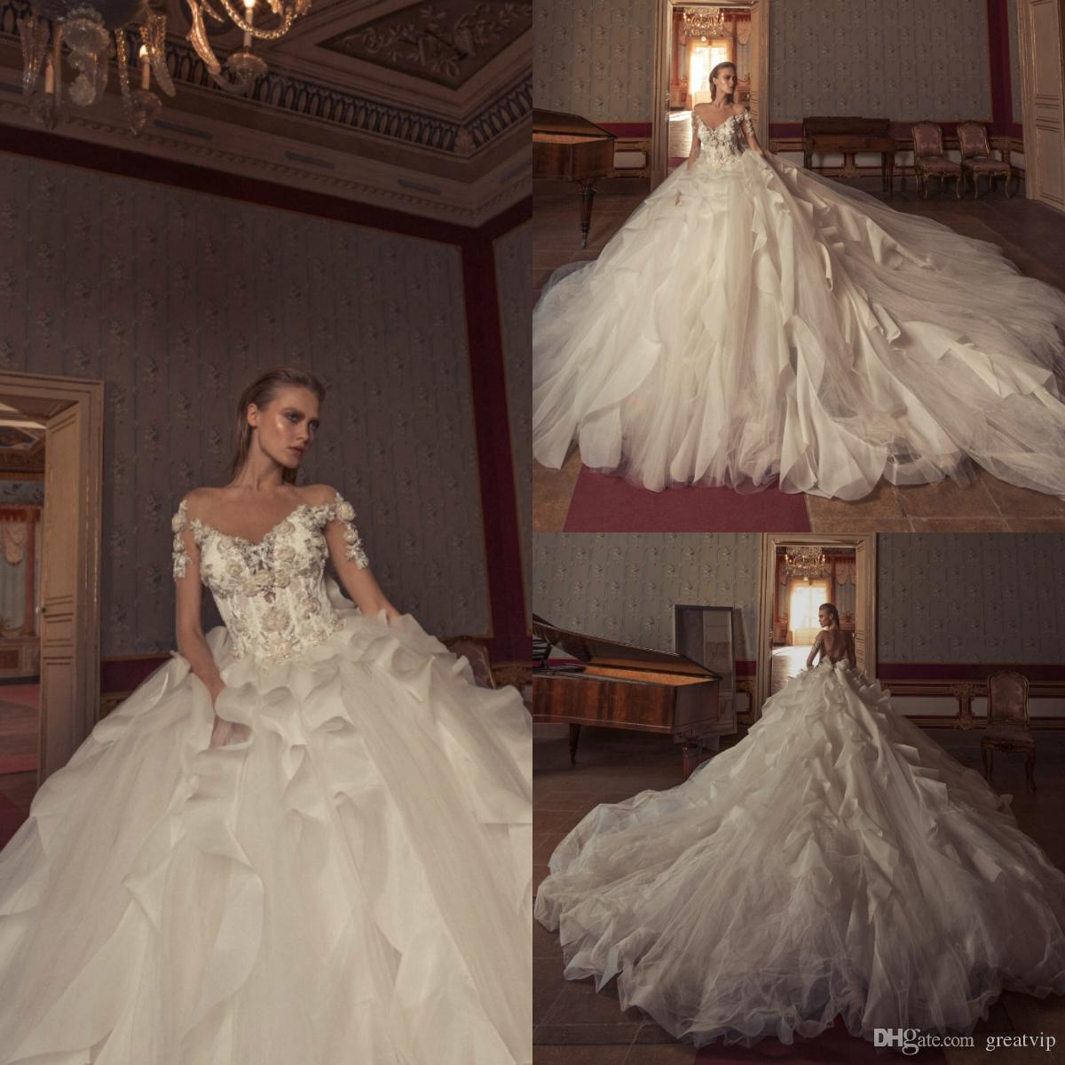 be2adafd15ab Discount Julia Kontogruni Vintage 2019 Wedding Dresses Long Sleeve Lace  Appliques Beads Ruffles Backless Chapel Train Bridal Gowns Robe De Mariée  Designer ...
