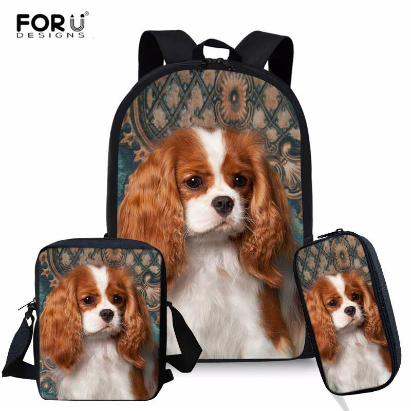 FORUDESIGNS Children School Bags for Girls Cavalier King Charles Spaniel 3pcs/Set Backpack Kids Book Bags Pencil Case Mochila
