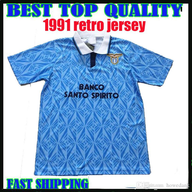 bb8d1111482 2019 1991 1992 Lazio Retro Soccer Jerseys 91 92 Lazio Riedle Doll Sosa  Stroppa Soccer Shirt Customized Football Uniform Maillot De Foot Thailand  From ...